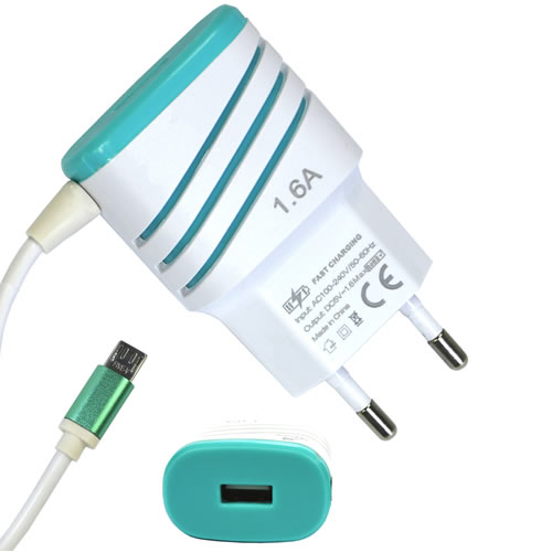Carregador De Celular Universal Parede 1 USB bivolt 1.6A Verde CBRN05215