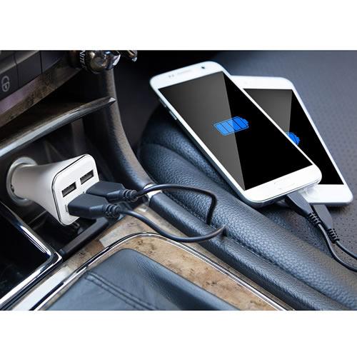 Carregador Veicular Turbo Rápido 4 USB 2.4A com cabo CBRN05178