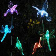 Luminária Solar Jardim PVC beija-flor, Borboleta e Libélula 1382