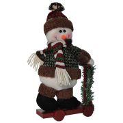 Boneco de Neve de Luxo Pelúcia com Patinete com 31cm de Altura CBRN0470