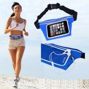 Pochete cinto porta celular fitness Corrida até 5.5 Pol Impermeável AZUL CBRN02047