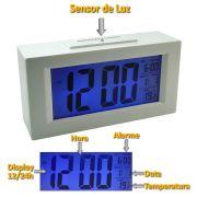 Relógio Mesa Digital Data/hora Temperatura sensor luz BRANCO CBRN01590