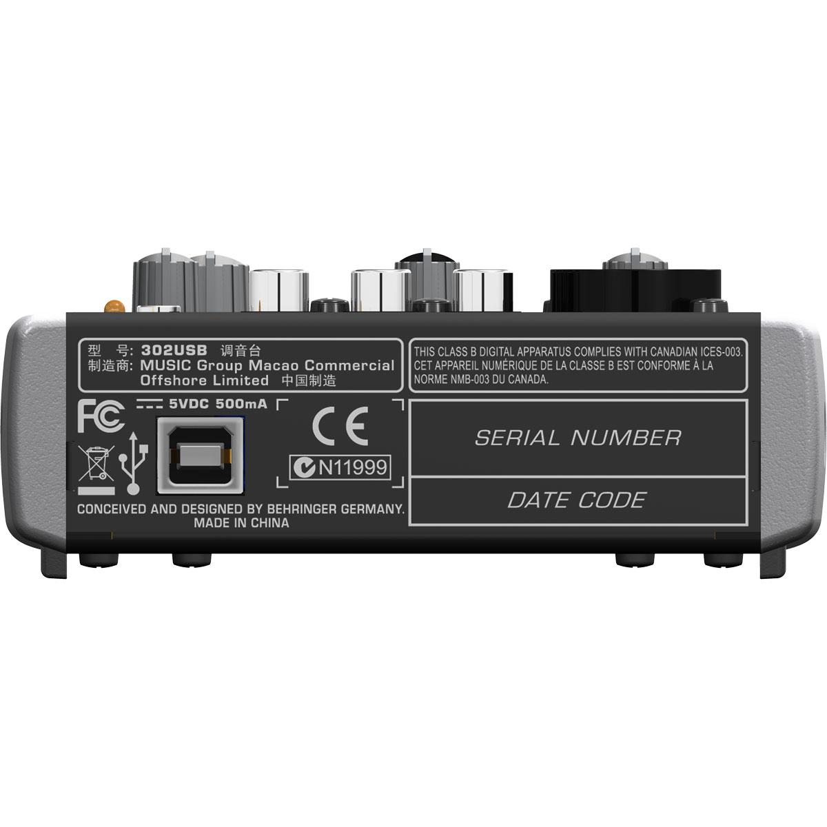 Mesa de Som 1 Canal Balanceado (XLR ou P10) c/ USB / Phantom Xenyx 302 USB - Behringer
