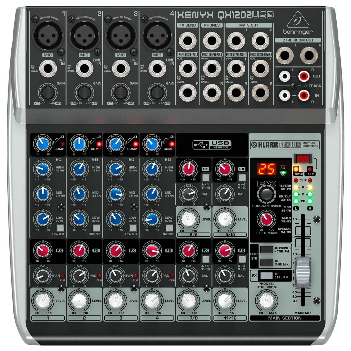 Mesa de Som 12 Canais Balanceados (4 XLR + 8 P10) c/ USB / Efeito / Phantom / 1 Auxiliar Xenyx QX 1202 USB - Behringer