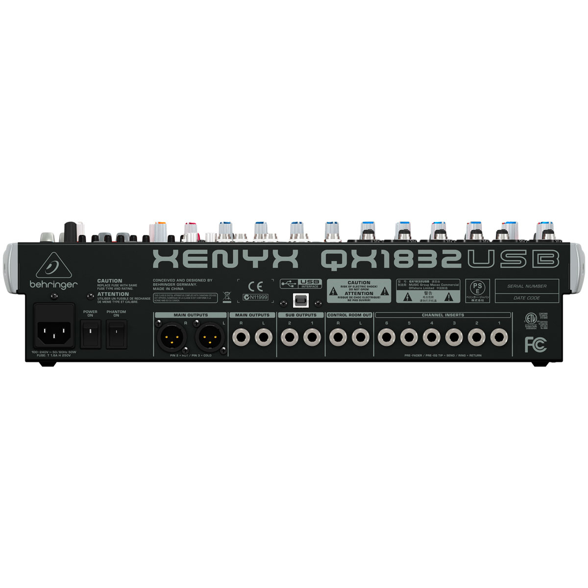Mesa de Som 18 Canais Balanceados (6 XLR + 12 P10) c/ USB / Efeito / Phantom / 3 Auxiliares Xenyx QX 1832 USB - Behringer