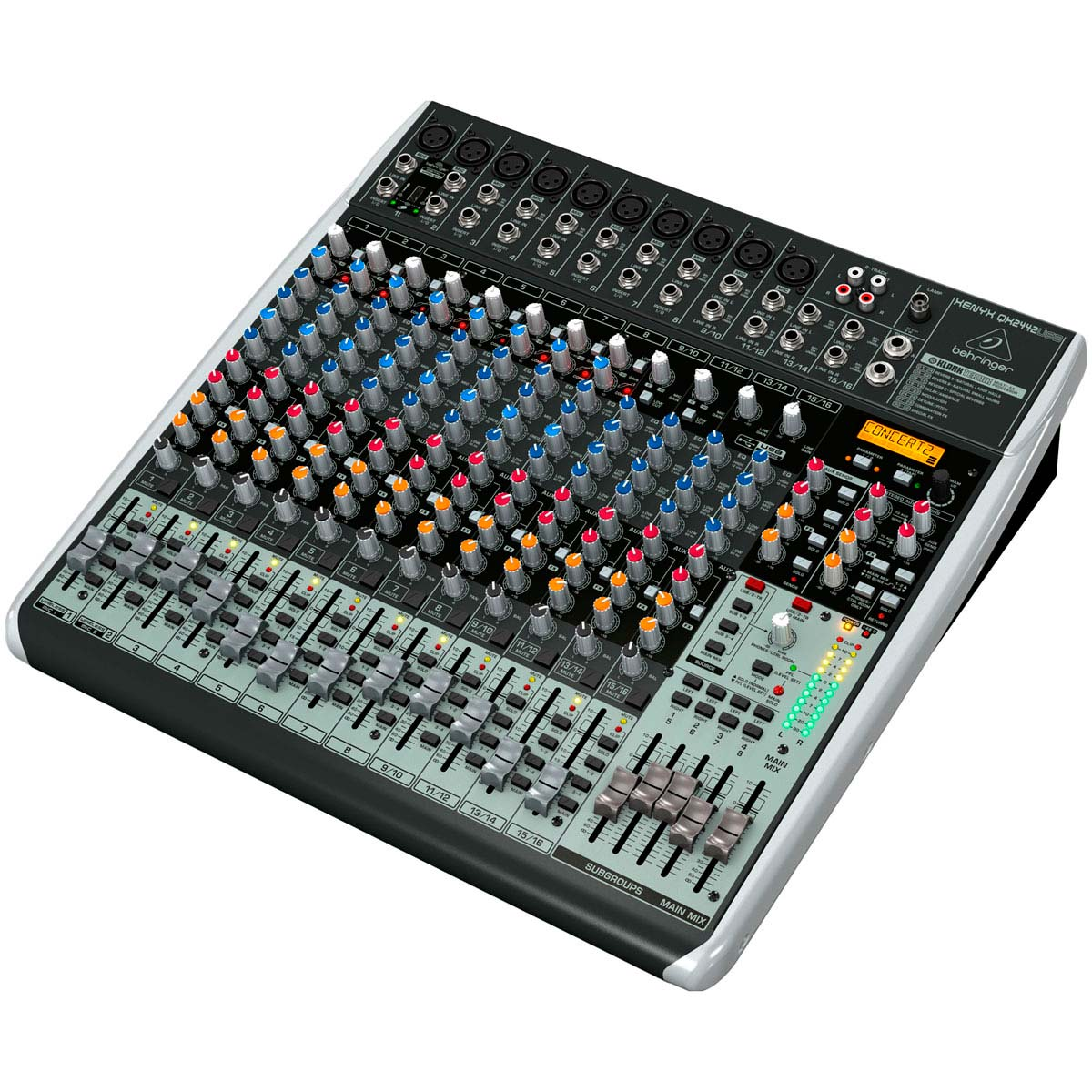 Mesa de Som 24 Canais Balanceados (10 XLR + 14P10) c/ USB / Efeito / Phantom / 4 Auxiliares - Xenyx QX 2442 USB Behringer