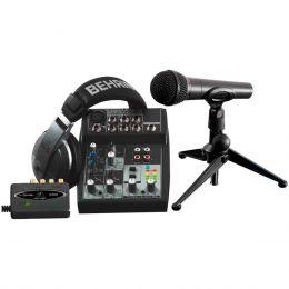 Inteface de Áudio USB / Mesa de Som 5 Canais Balanceados (1 XLR + 4 P10) / Microfone / Fone de Ouvido / Software - PODCASTUDIO USB Behringer