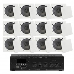 Som Ambiente 40 Watts com 12 caixas de teto com FM, entrada USB, Bluetooth, APP - KIT AMB 12 USB FM BT APP FIAMON VR