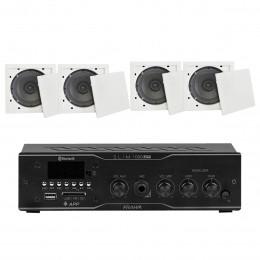 Som Ambiente 40 Watts com 4 caixas de teto com FM, entrada USB, Bluetooth, APP KIT AMB 4 USB FM BT APP FIAMON - VR