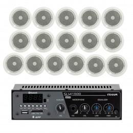 Som Ambiente 60 Watts com 16 caixas de teto com FM, entrada USB, Bluetooth, APP KIT AMB 16 USB FM BT APP NATTS - VR