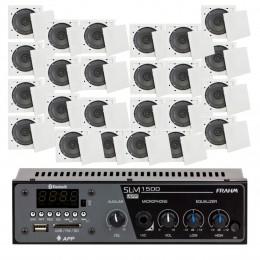 Som Ambiente 60 Watts com 24 caixas de teto com FM, entrada USB, Bluetooth, APP KIT AMB 24 USB FM BT APP FIAMON - VR