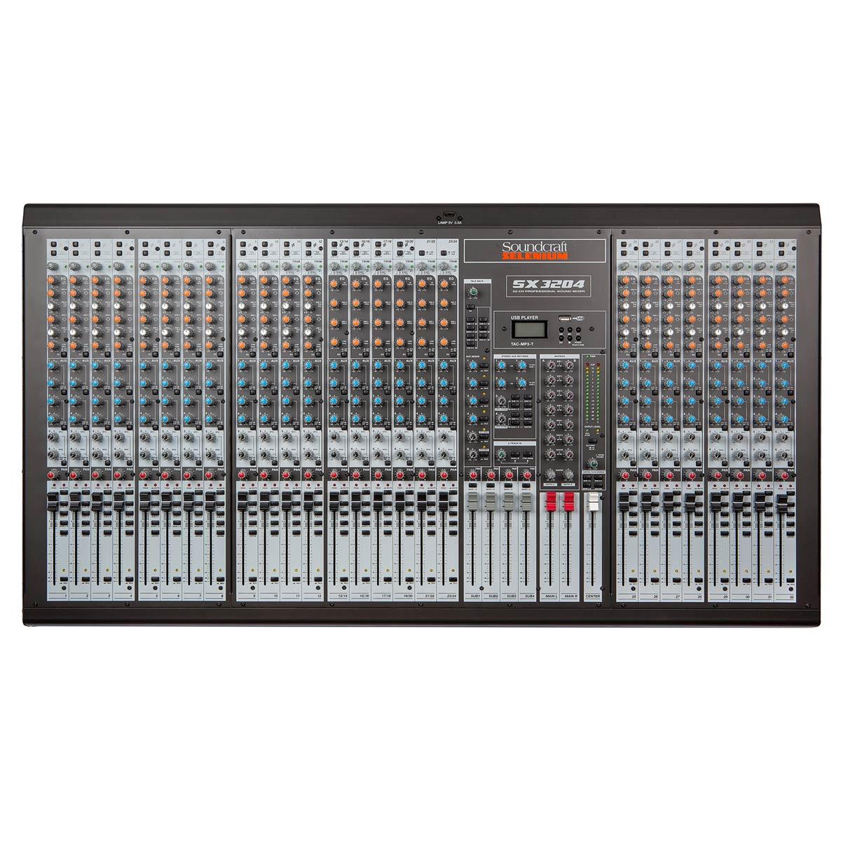Mesa de Som 32 Canais Balanceados (26 XLR + 6 P10) c/ USB Play / Phantom / 6 Auxiliares SX 3204 - Soundcraft