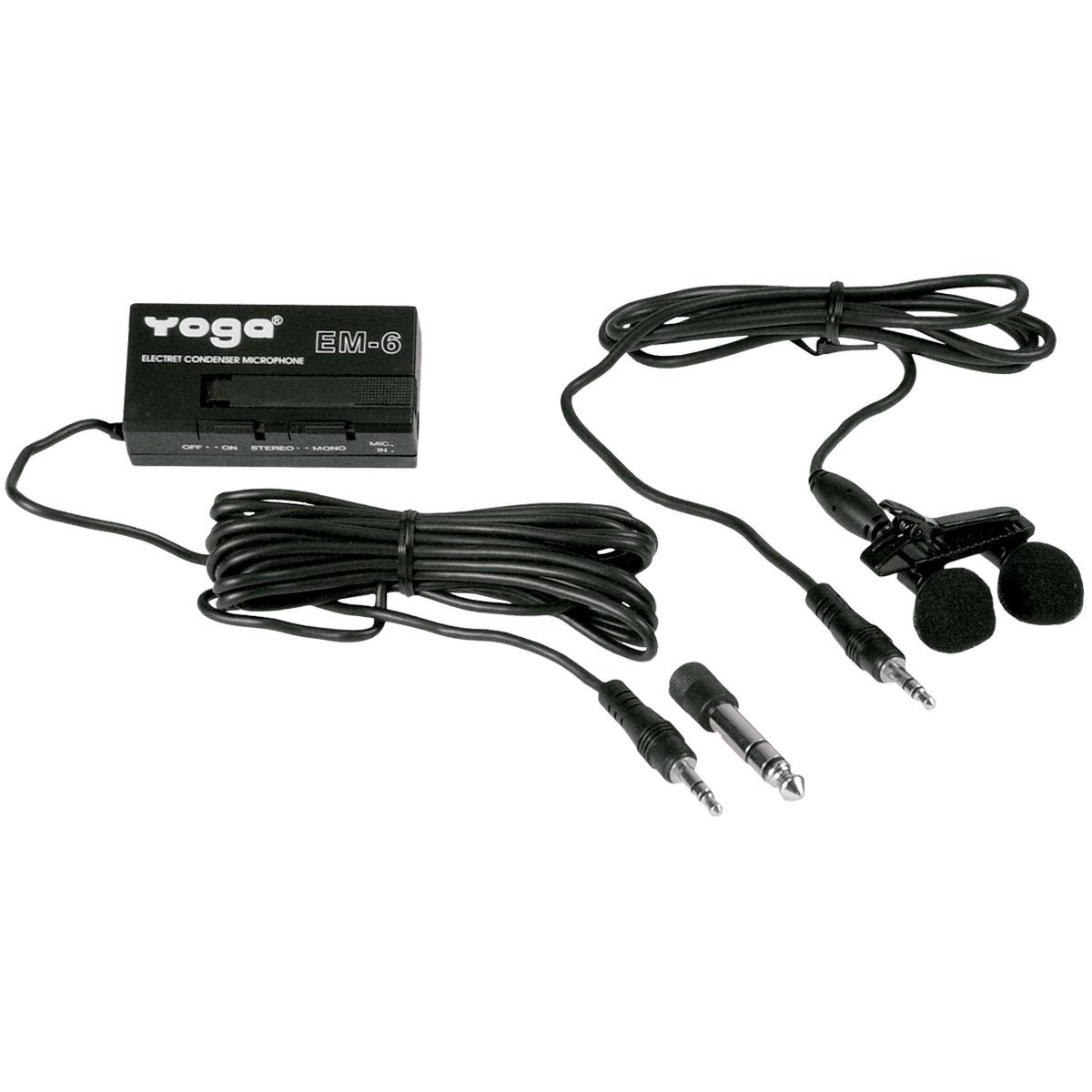 Microfone c/ Fio Lapela Duplo - EM 6 Yoga