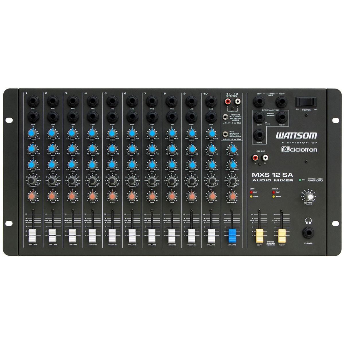 Mesa de Som 12 Canais (10 P10 Desbalanceados + RCA) c/ 1 Auxiliar - MXS 12 SA Ciclotron