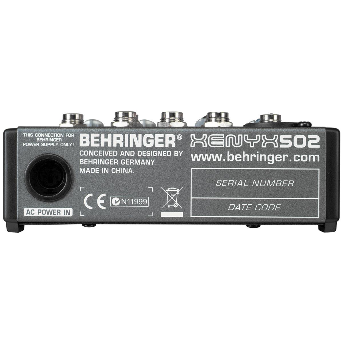 Mesa de Som 5 Canais Balanceados (1 XLR + 4 P10) c/ 1 Auxiliar - Xenyx 502 Behringer