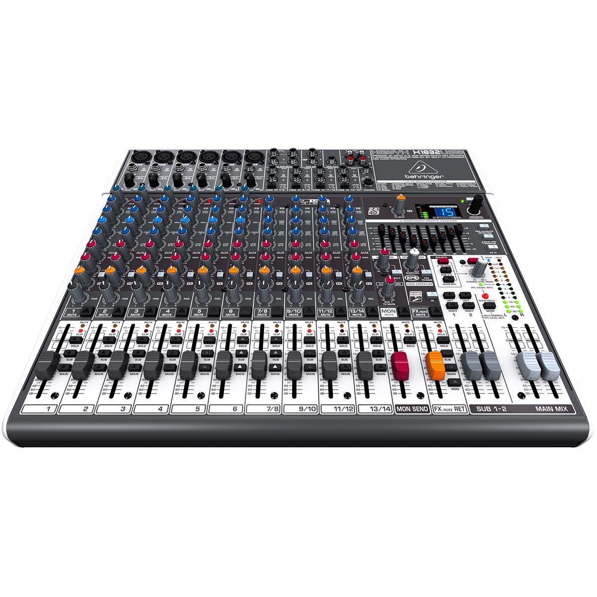 Mesa de Som 18 Canais Balanceado (6 XLR + 12 P10) c/ USB / Efeito / Phantom / 3 Auxiliares - Xenyx X 1832 USB Behringer