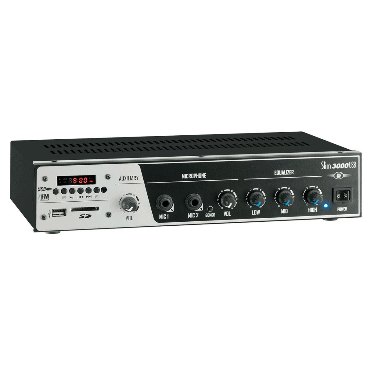 Slim3000USB - Amplificador Mono 200W Slim 3000 USB - Frahm
