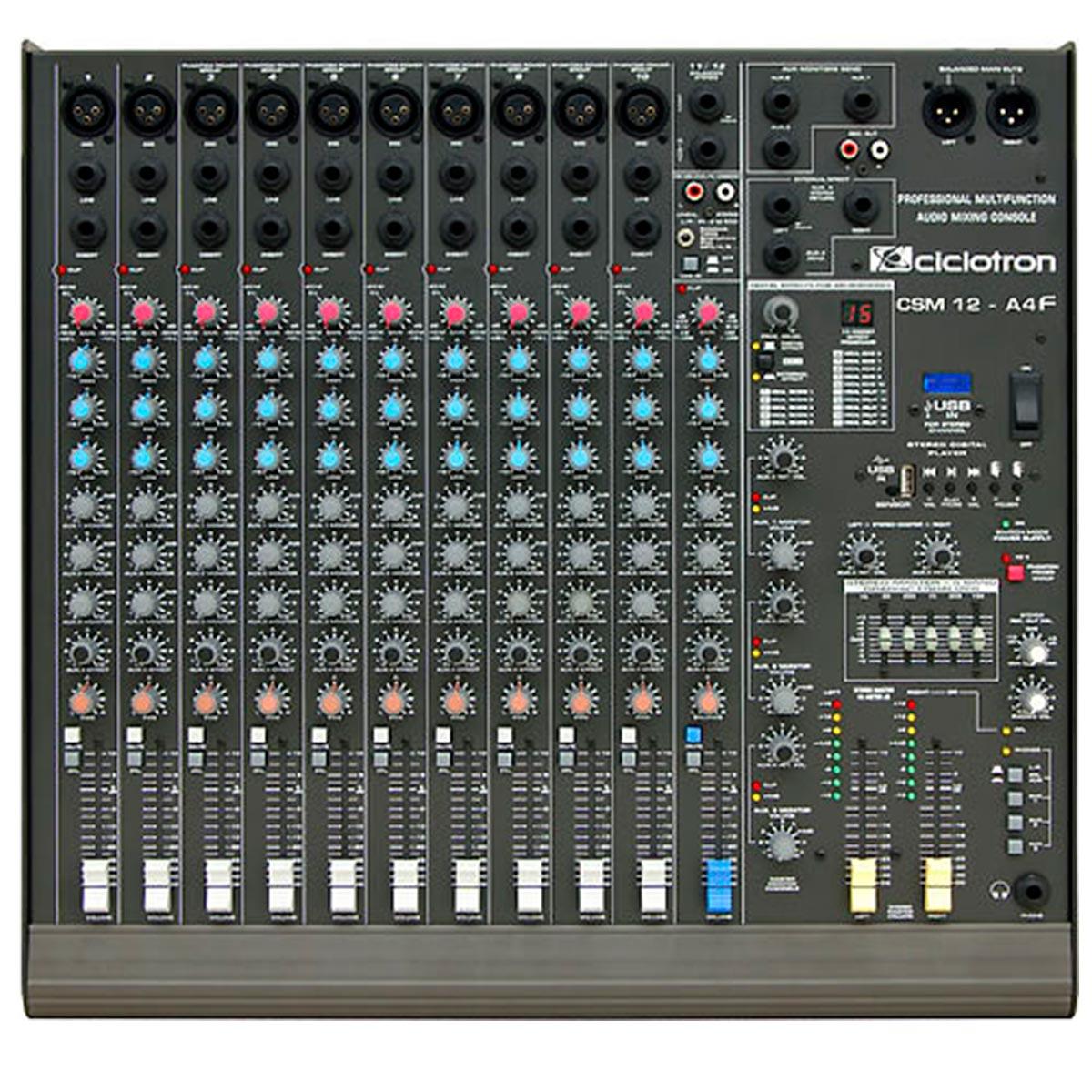 Mesa de Som 12 Canais Balanceados (10 XLR + 2 P10) c/ USB Play / Efeito / Phantom / 4 Auxiliares - CSM 12 A 4 F Ciclotron