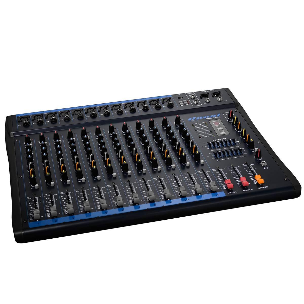 Mesa de Som 12 Canais XLR Balanceados c/ USB / Efeito / Phantom / 2 Auxiliares - OMX 1200 Oneal