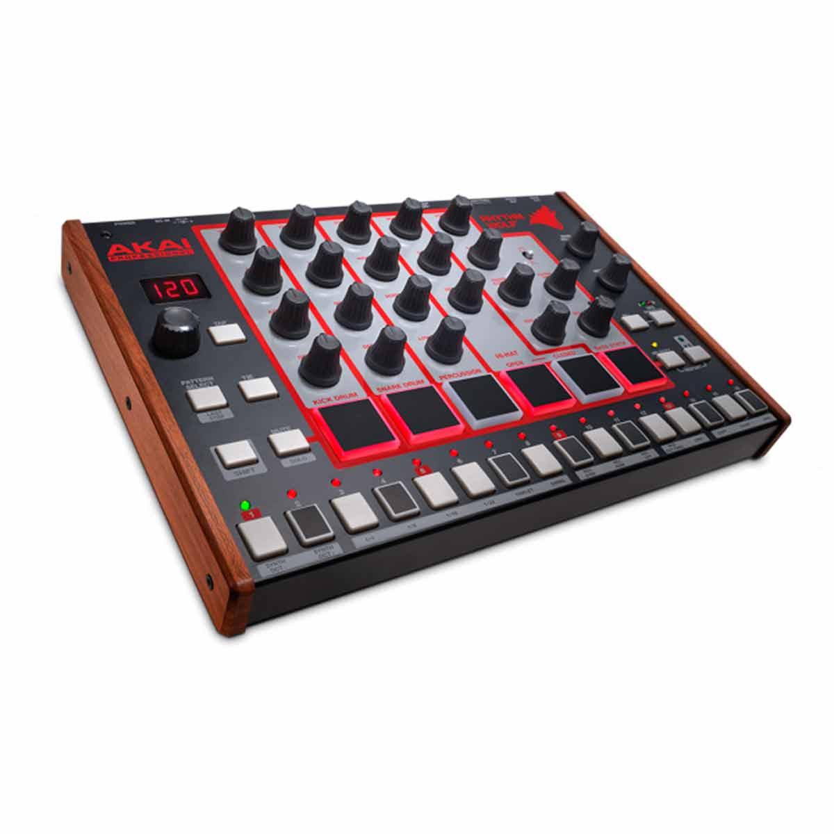Bateria Eletrônica e Sintetizador de Baixo c/ 5 Timbres / USB / MIDI  - Rhythm Wolf AKAI