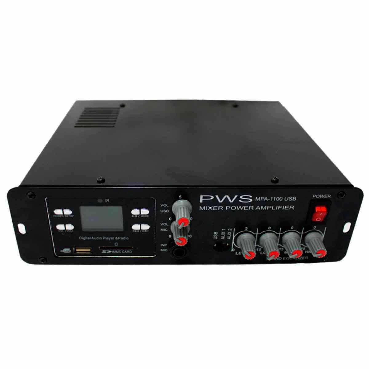 Amplificador Som Ambiente 100W até 2 Caixas c/ USB - MPA 1100 USB PWS