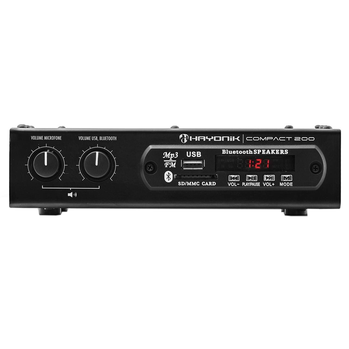 Amplificador Som Ambiente 20W até 2 Caixas c/ USB / Bluetooth - Compact 200 Hayonic