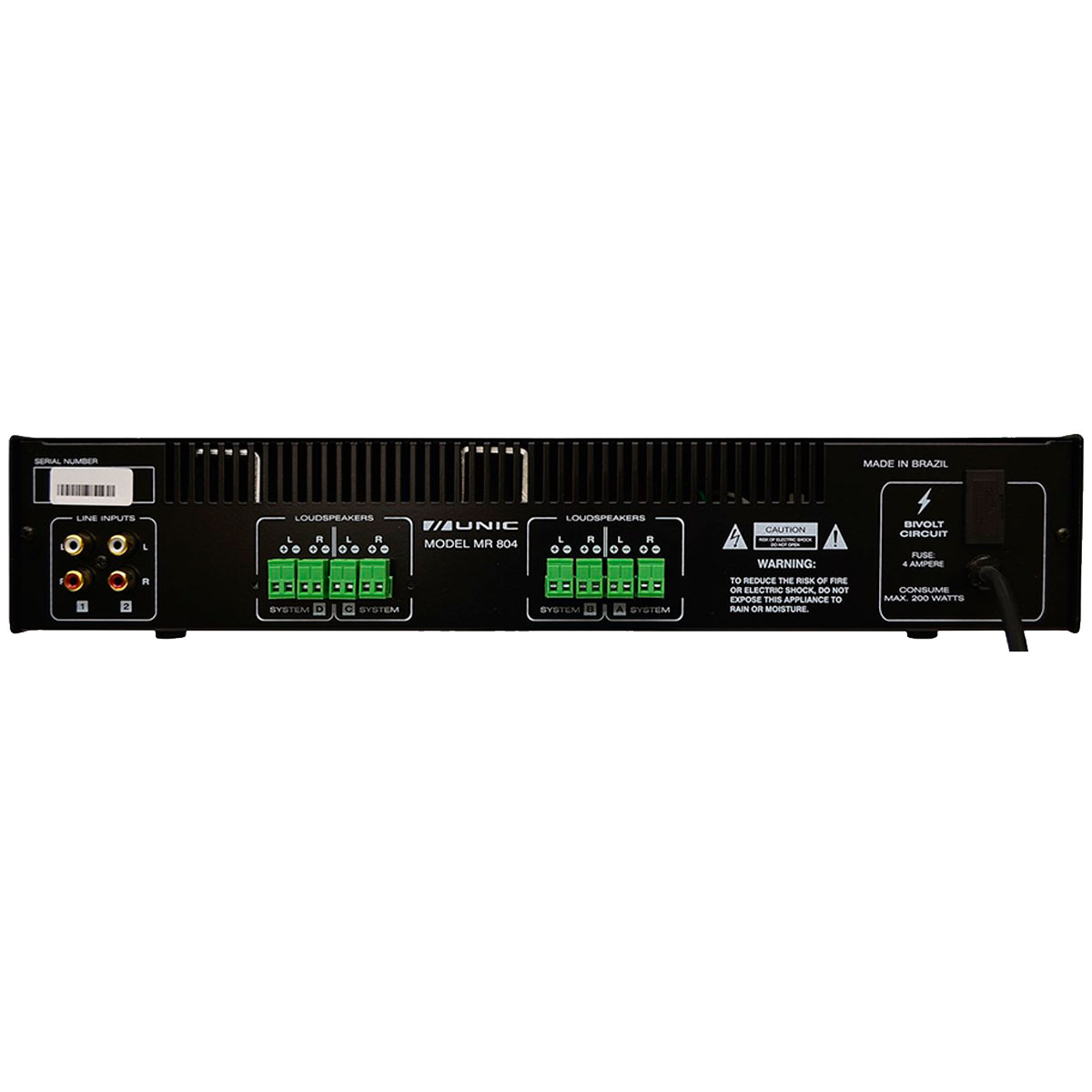 Amplificador Som Ambiente 200W 4 Ohms - MR 804 Unic