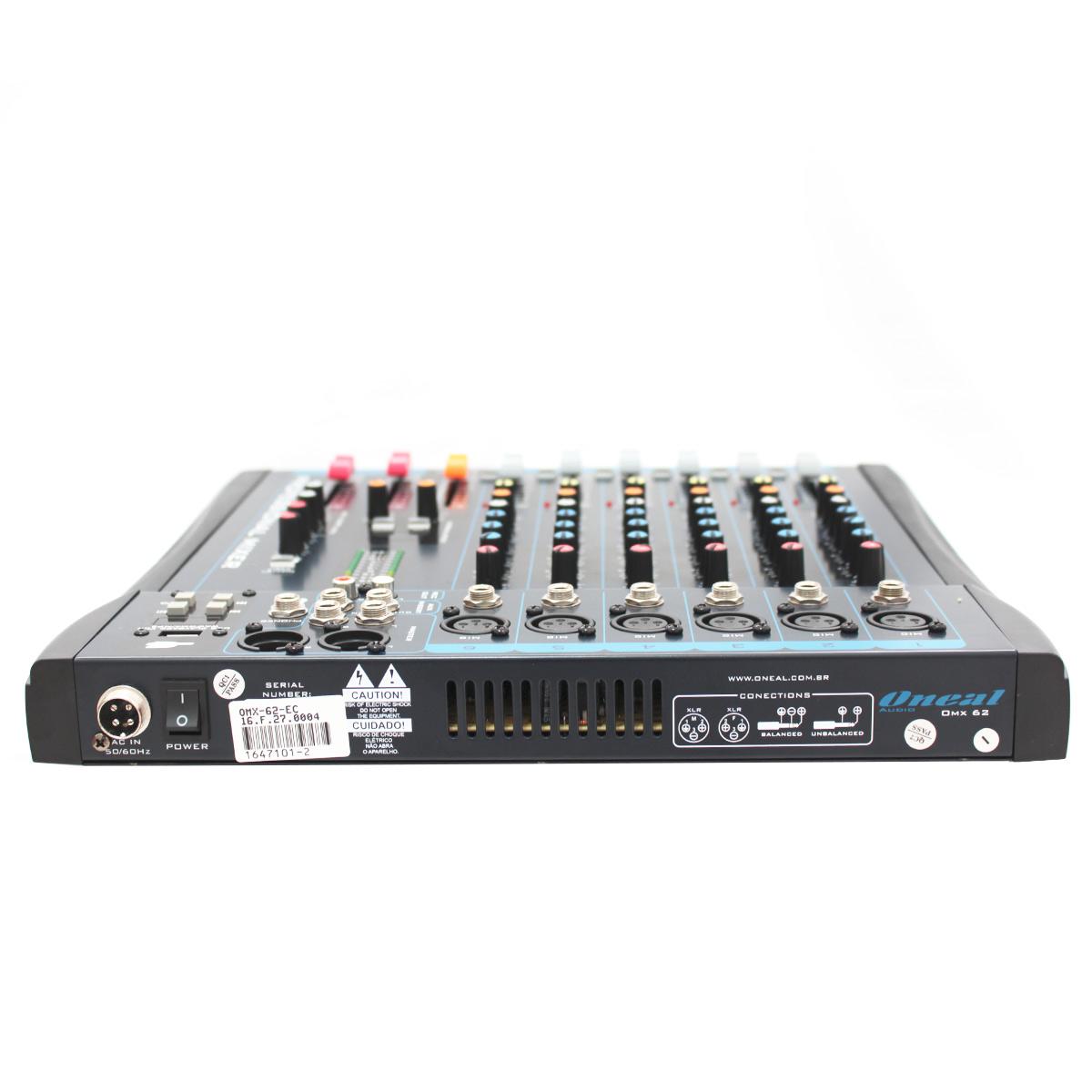 Mesa de Som 6 Canais XLR Balanceados c/ USB / Efeito / Phantom / 1 Auxiliar - OMX 62 Oneal