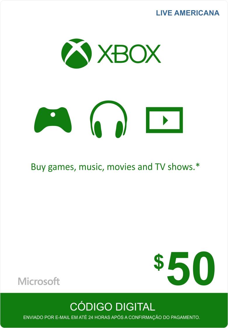 Cartão XBOX Live $50 (Live Americana)  - FastGames - Gamers levados a sério