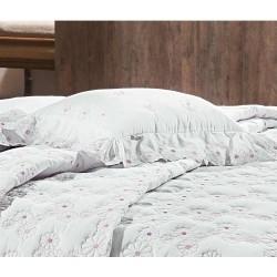 Almofada Decorativa Nuance 01 Peça Bordado 100% Algodão Percal 200 Fios - Branco/Rosa