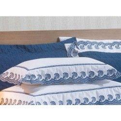 Almofada Decorativa Amêndoa 01 Peça Bordado 100% Algodão Percal 200 Fios - Marinho