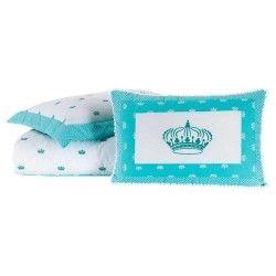 Colcha Solteiro Cloe 03 Peças 100% Algodão Percal 200 Fios Bordado - Azul Tiffany