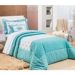 Coordenado Solteiro Cloe 06 Peças 100% Algodão Percal 200 Fios Bordado - Azul Tiffany