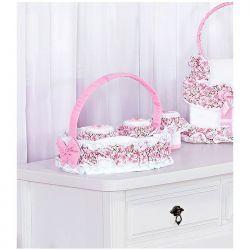Kit Acessórios com Abajur, Cesta e Potes Coleção Coração - Branco/Rosa