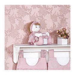 Porta Cotonete Boneca Enfeitado - Coleção Flor de Liz - 39cm - 01 Peça - Rosa