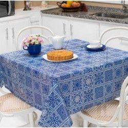 Toalha de Mesa Anti Térmica Retangular Estampada 2,50m x 1,40m - Azulejo