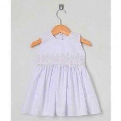 Vestido para Batizado Sem Manga Tecido Tricoline Bordado com Pérola - Tamanho 03
