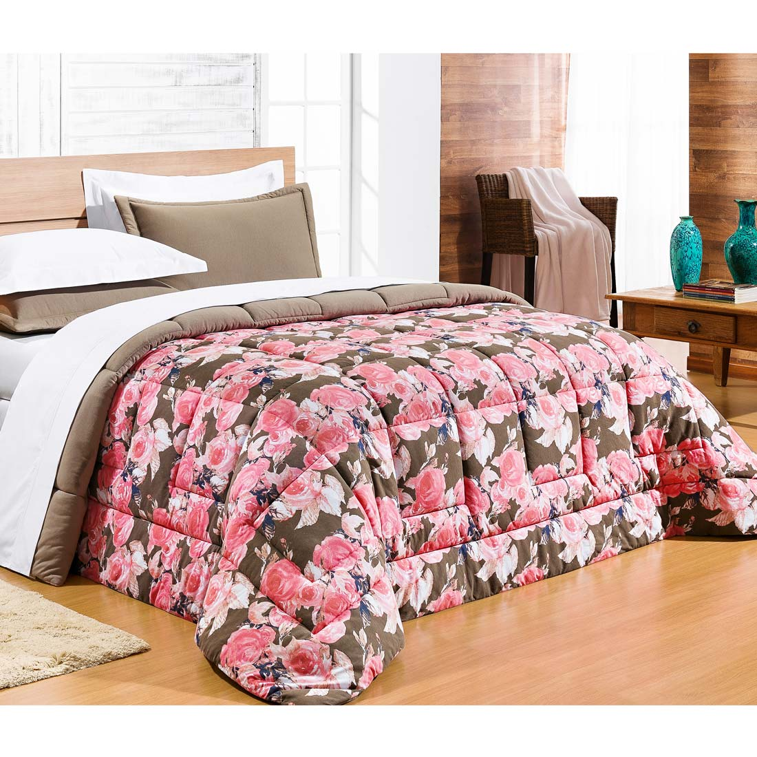 Edredom Casal King Safari 01 Peça Estampado DF Malha Penteada - Rosa Floral