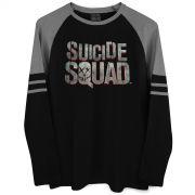Blusa Manga Longa Masculina Esquadrão Suicida Logo