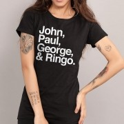 Camiseta Feminina The Beatles Names