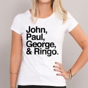 Camiseta Feminina The Beatles Nomes