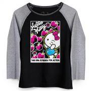 Camiseta Manga Longa Feminina Hello KItty Ready for Action