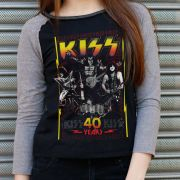 Camiseta Manga Longa Feminina Kiss 40 Years