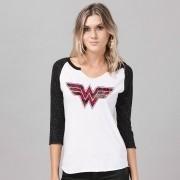 Camiseta Manga Longa Feminina Wonder Woman Logo Fashion