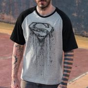 Camiseta Raglan Masculina Superman Steel Melting
