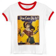 Camiseta Ringer Feminina Wonder Woman She Can Do It!
