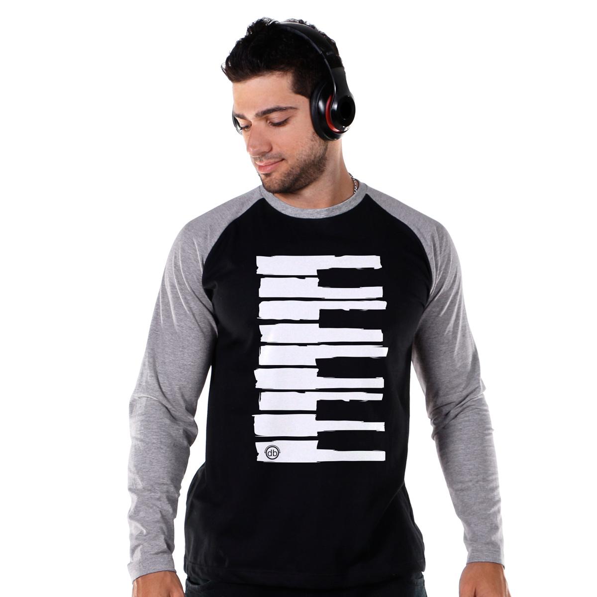 Camiseta Raglan Masculina Dudu Borges Musical Keyboard