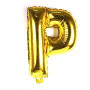 Balão Metalizado Gigante Mini Shape Letra P Dourado 70cm
