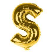 Balão Metalizado Gigante Mini Shape Letra S Dourado 70cm