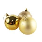 Bola de Natal Dourada Mista 6cm - 10 Unidades